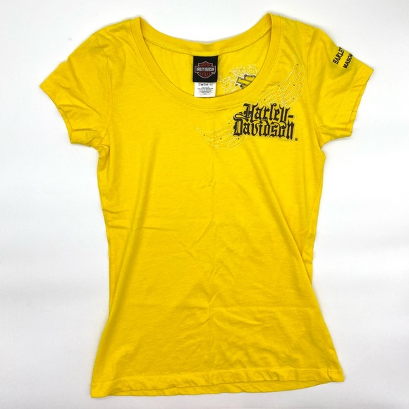Harley Davidson Yellow Studded Embroidered Top